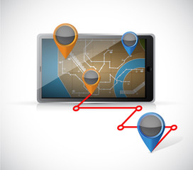 tablet gps and locations illustration