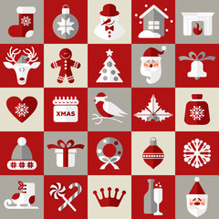Christmas design icons set. Seamless pattern of christmas.