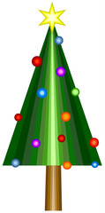 Vector abstract christmas tree with star and decorations