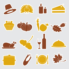thanksgiving stickers color set eps10