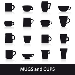 mugs and cups black silhouette icons set eps10
