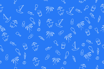 Doodle Seamless Background, Beach Stuff