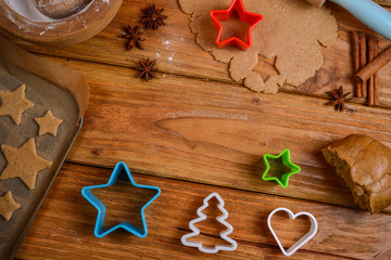 Table view on making christmas cookies