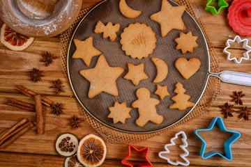 Christmas shape cookies presentation on table