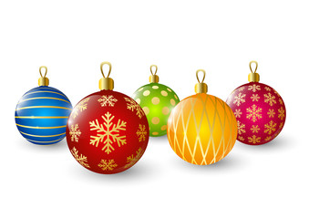 Color Christmas balls on white