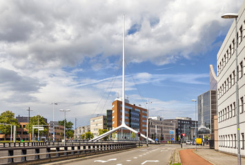Thin white steeple on one of the crossroads of Eindhoven