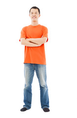 full length of young asian man standing.