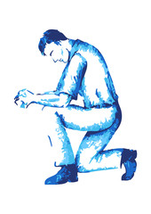 Abstract male figure praying