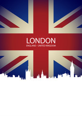 London skyline on United Kingdom Flag