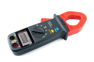 Digital clamp meter isolated on white