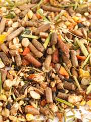 Pile backgroound of muesli for horses