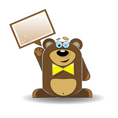 Cartoon illustration of funny bear with a white sign.