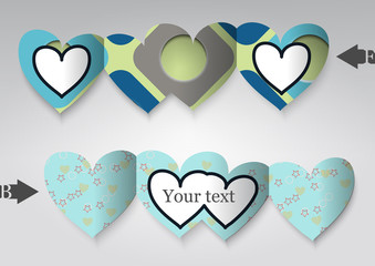 Template greeting card in the form of heart