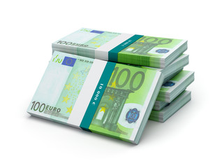 Stack of 100 euro banknotes bills bundles isolated