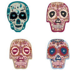 Collection of beautiful colored skulls on white background