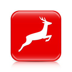 Red deer button, icon
