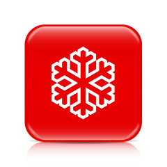 Red snowflake button, icon