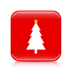 Red Christmas tree button, icon