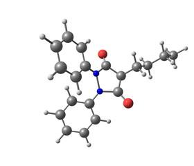 Phenylbutazone molecule isolated on white