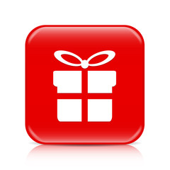 Red present button, icon