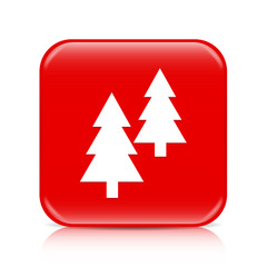 Red fir trees button, icon