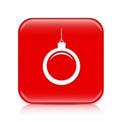 Red Christmas ball button, icon