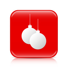 Red Christmas balls button, icon