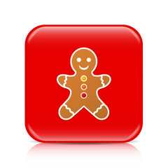 Red gingerbread man button, icon