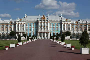 The Catherine Palace in the town of Tsarskoye Selo (Pushkin), St