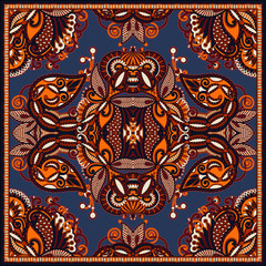 Traditional ornamental floral paisley bandanna