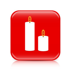 Red candles button, icon
