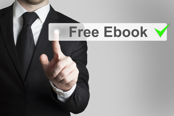 businessman pushing flat button free ebook