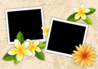 two picture frame on the sand beach with yellow orchid flower