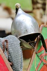 medieval knights helmet during the period of the middle ages