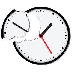 Broken clock face