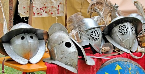 helmets of ancient Roman origin and medieval helmets of brave kn