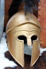 old Roman helmets of brave roman soldier