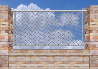 Brick Wall and Iron fence on Top