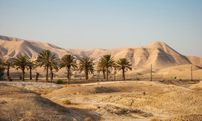 Landscape with Judean Mountains and  Judean desert in Israel
