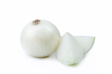 One White Onion and Sliced Pieces - Clipping Path Inside