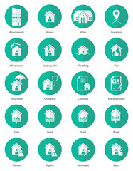 Set of real estate icon in flat design, Vector, Illustration