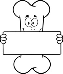 Black And White Funny Bone Character Holding A Banner
