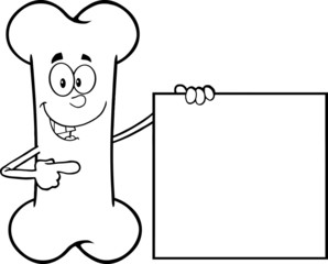 Black And White Happy Bone Character Showing A Blank Sign