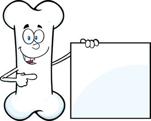 Happy Bone Cartoon Mascot Character Showing A Blank Sign