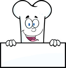 Smiling Bone Cartoon Mascot Character Over A Blank Sign