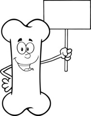 Black And White Funny Bone Character Holding A Blank Sign