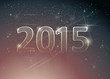 Happy new year card / Number 2015 in night sky