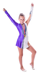 Girl gymnast with medals