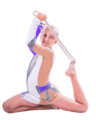 gymnast girl sitting with a rope