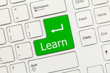 White conceptual keyboard - Learn (green key)